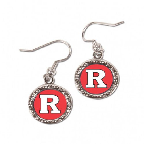 Rutgers Scarlet Knights Earrings Round Style - Special Order