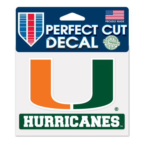 Miami Hurricanes Decal 4.5x5.75 Perfect Cut Color - Special Order