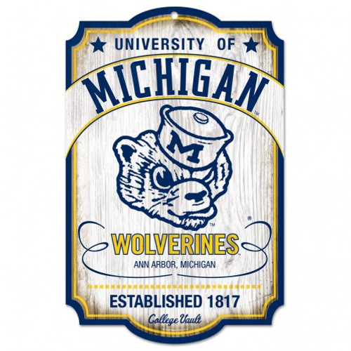 """Michigan Wolverines Wood Sign - 11""""x17"""" College Vault - Special Order"""