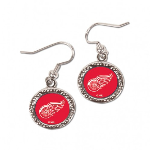 Detroit Red Wings Earrings Round Style - Special Order