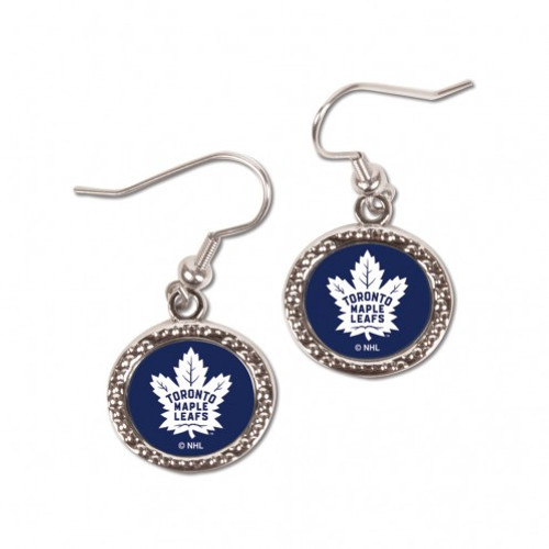 Toronto Maple Leafs Earrings Round Style - Special Order