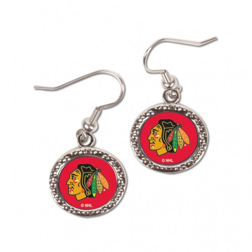 Chicago Blackhawks Earrings Round Style - Special Order