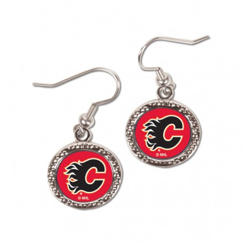 Calgary Flames Earrings Round Style - Special Order