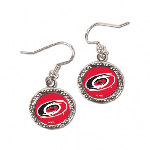 Carolina Hurricanes Earrings Round Style - Special Order