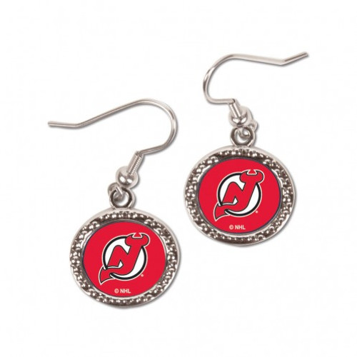 New Jersey Devils Earrings Round Style - Special Order