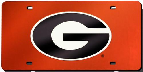 Georgia Bulldogs Red Laser Cut License Plate