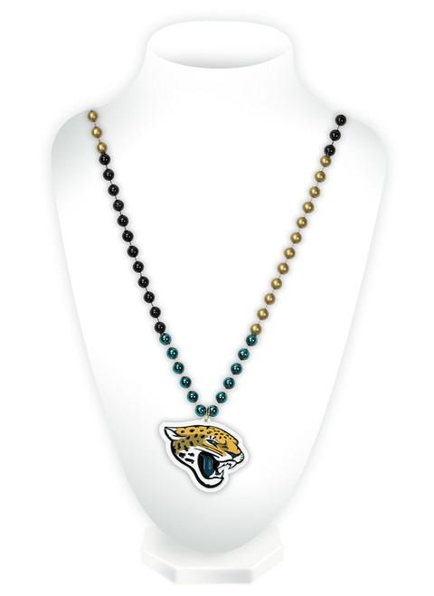 Jacksonville Jaguars Mardi Gras Beads with Medallion