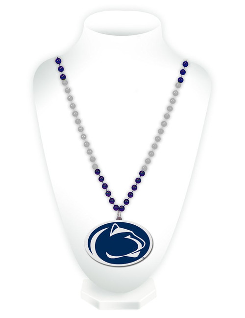 Penn State Nittany Lions Mardi Gras Beads with Medallion - Special Order
