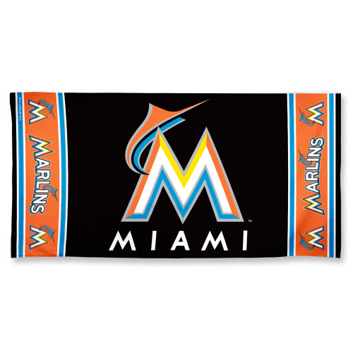 Miami Marlins Towel 30x60 Beach Style - Special Order
