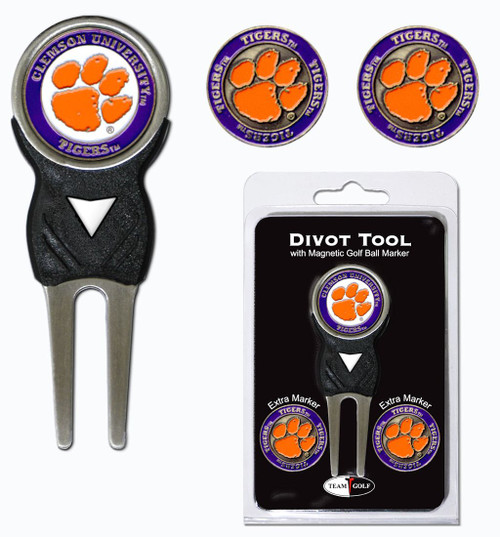 Clemson Tigers Golf Divot Tool with 3 Markers - Special Order