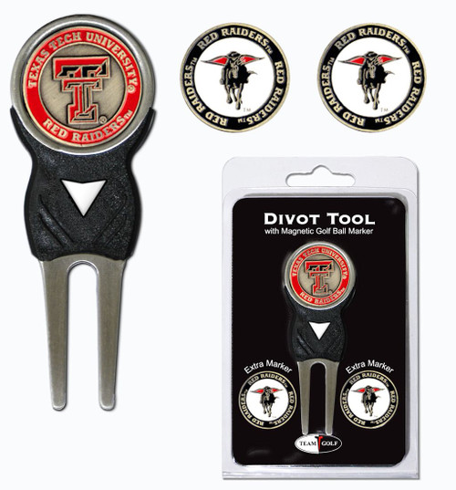 Texas Tech Red Raiders Golf Divot Tool with 3 Markers - Special Order