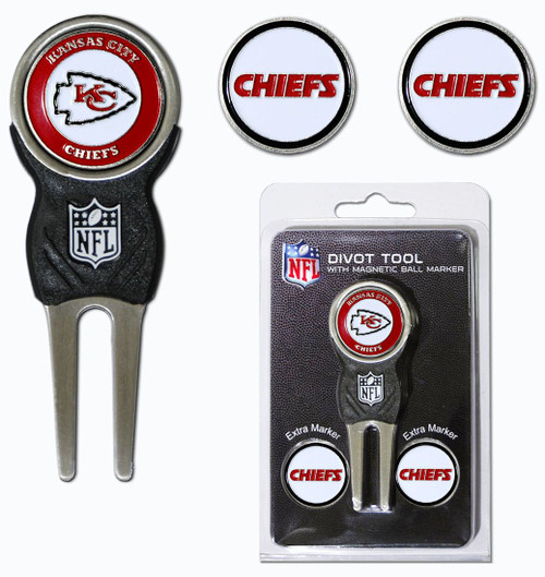 Kansas City Chiefs Golf Divot Tool with 3 Markers - Special Order
