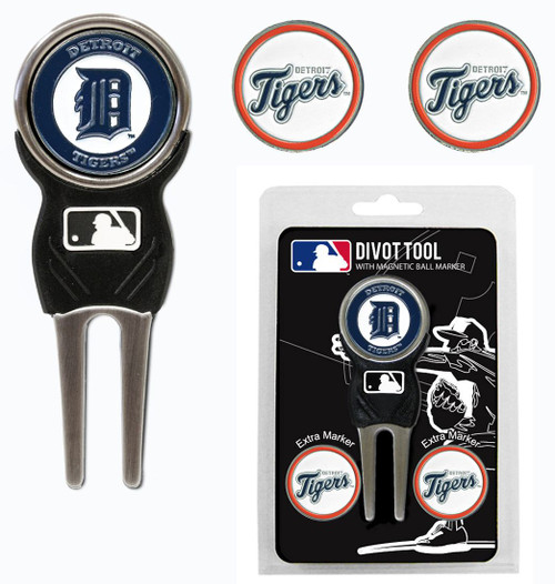 Detroit Tigers Golf Divot Tool with 3 Markers - Special Order