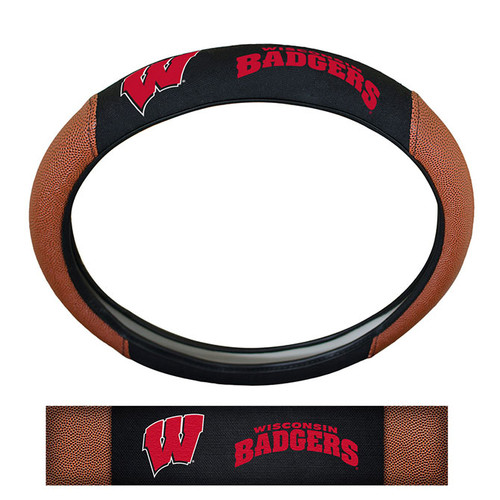 Wisconsin Badgers Steering Wheel Cover - Premium Pigskin - Special Order