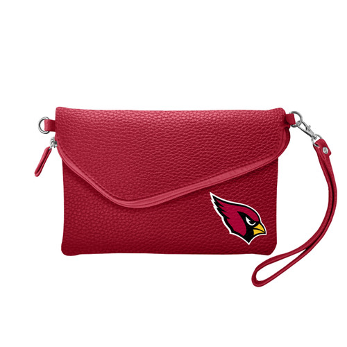 Arizona Cardinals Purse Pebble Fold Over Crossbody Dark Red - Special Order