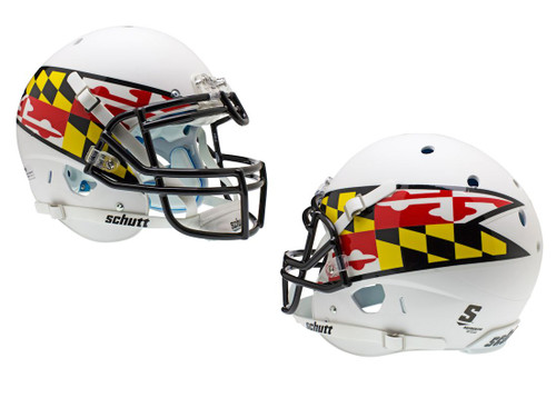 Maryland Terrapins Schutt Authentic XP Full Size Helmet - Matte White Alternative #2 Flag - Special Order