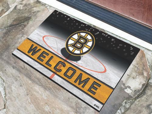 Boston Bruins Door Mat 18x30 Welcome Crumb Rubber - Special Order