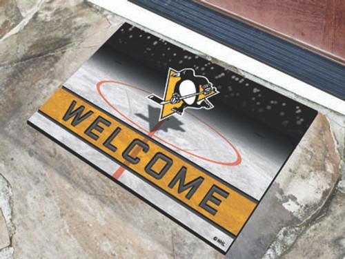 Pittsburgh Penguins Door Mat 18x30 Welcome Crumb Rubber - Special Order