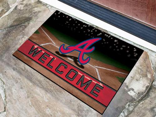 Atlanta Braves Door Mat 18x30 Welcome Crumb Rubber - Special Order
