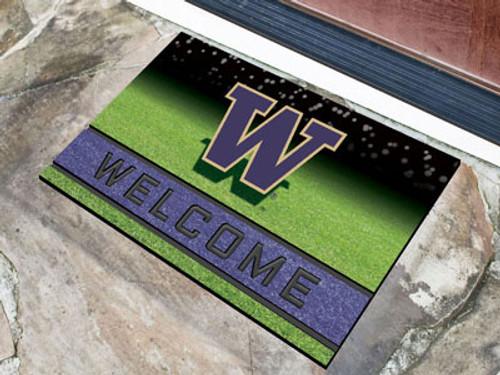Washington Huskies Door Mat 18x30 Welcome Crumb Rubber - Special Order