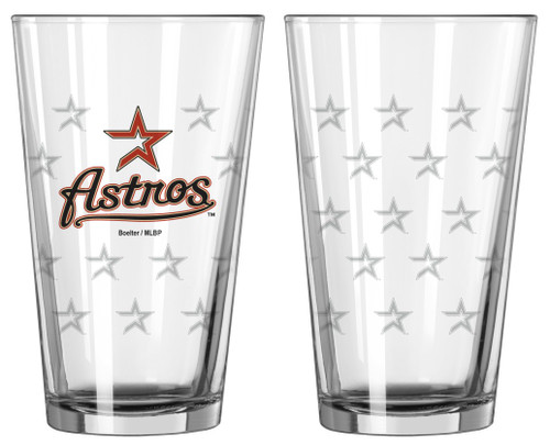 Houston Astros Satin Etch Pint Glass Set - Special Order