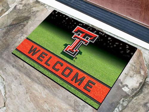 Texas Tech Red Raiders Door Mat 18x30 Welcome Crumb Rubber - Special Order