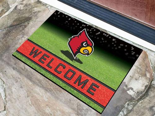 Louisville Cardinals Door Mat 18x30 Welcome Crumb Rubber - Special Order