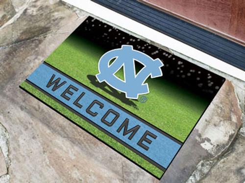 North Carolina Tar Heels Door Mat 18x30 Welcome Crumb Rubber - Special Order
