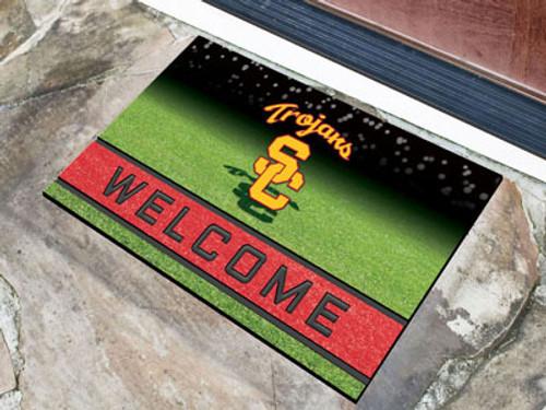 USC Trojans Door Mat 18x30 Welcome Crumb Rubber - Special Order