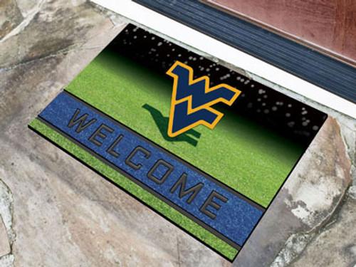 West Virginia Mountaineers Door Mat 18x30 Welcome Crumb Rubber - Special Order
