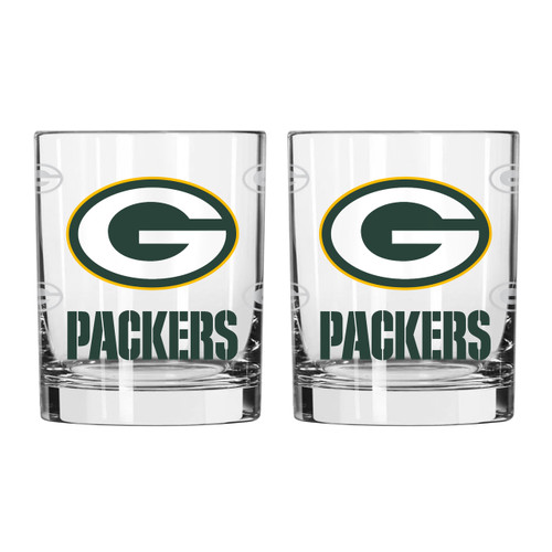 Green Bay Packers Glass - Rocks Style - Satin Etch - 14 oz - Special Order