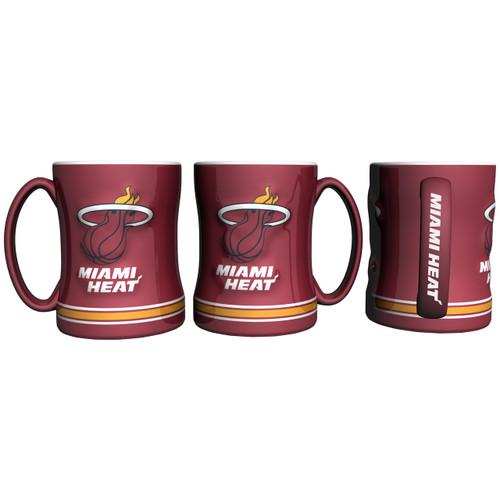 Miami Heat Coffee Mug 14oz Sculpted Relief
