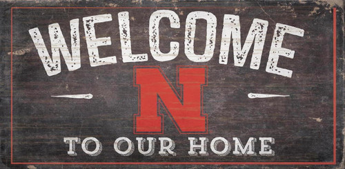 Nebraska Cornhuskers Sign Wood 6x12 Welcome To Our Home Design - Special Order