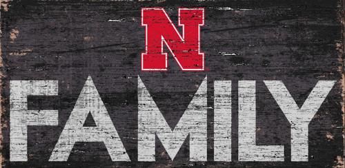 Nebraska Cornhuskers Sign Wood 12x6 Family Design - Special Order