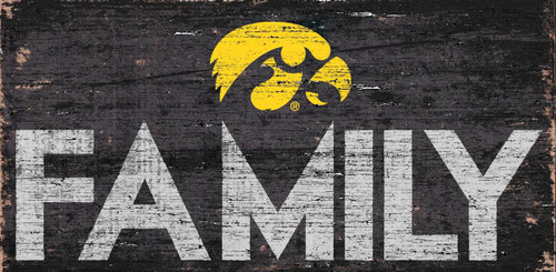Iowa Hawkeyes Sign Wood 12x6 Family Design - Special Order