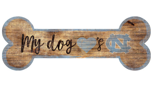 North Carolina Tar Heels Sign Wood 6x12 Dog Bone Shape