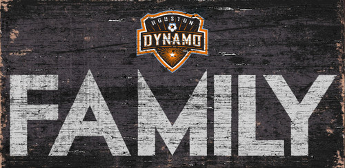 Houston Dynamo Sign Wood 12x6 Family Design - Special Order