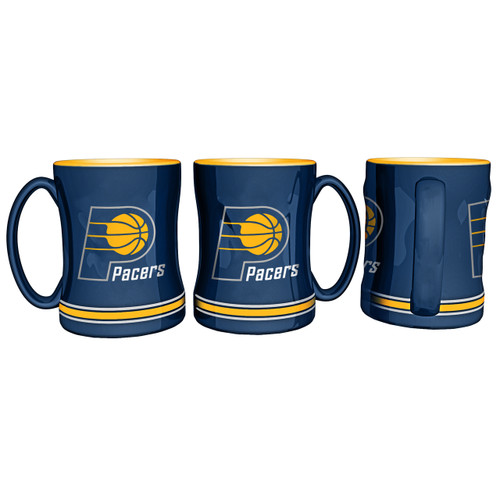 Indiana Pacers Coffee Mug 14oz Sculpted Relief - Special Order