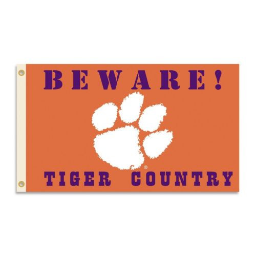 Clemson Tigers Flag 3x5 Beware Tiger Country - Special Order