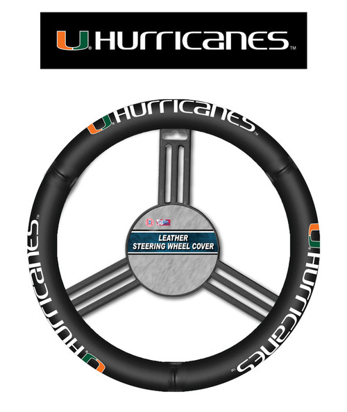 Miami Hurricanes Steering Wheel Cover Leather CO
