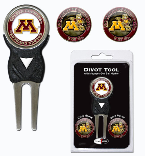 Minnesota Golden Gophers Golf Divot Tool with 3 Markers - Special Order