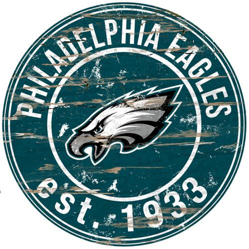 "Philadelphia Eagles  Wood Sign - 24"" Round - Special Order"