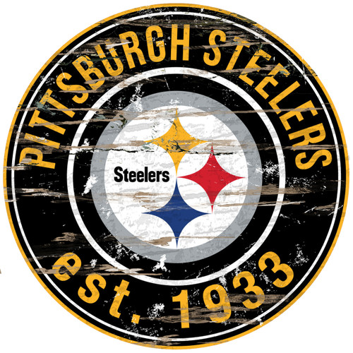 """Pittsburgh Steelers Wood Sign - 24"""" Round - Special Order"""