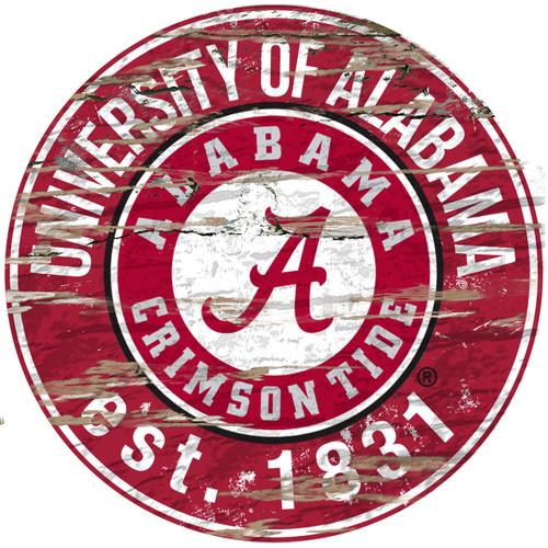 """Alabama Crimson Tide Wood Sign - 24"""" Round - Special Order"""