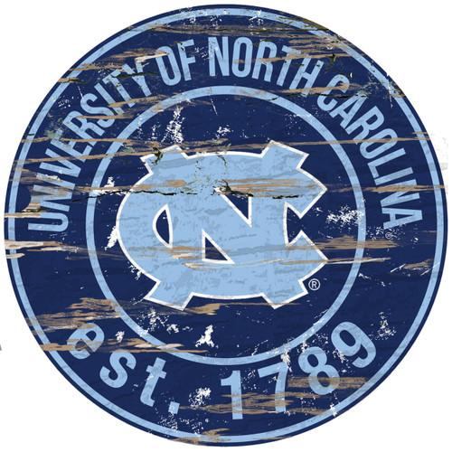 "North Carolina Tar Heels Wood Sign - 24"" Round - Special Order"