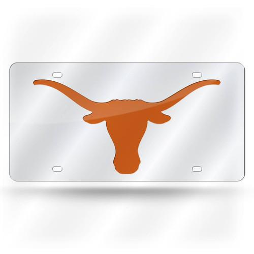 Texas Longhorns License Plate Laser Cut Silver