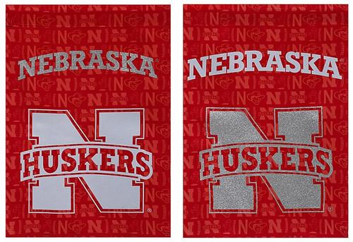 Nebraska Cornhuskers Suede Glitter Accented Double Sided Garden Flag