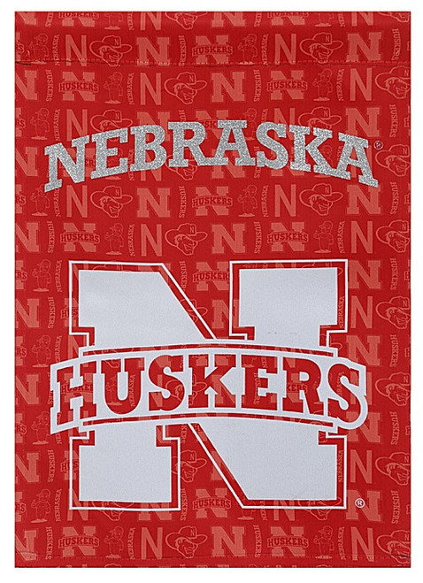 Nebraska Cornhuskers Flag Double Sided Glitter