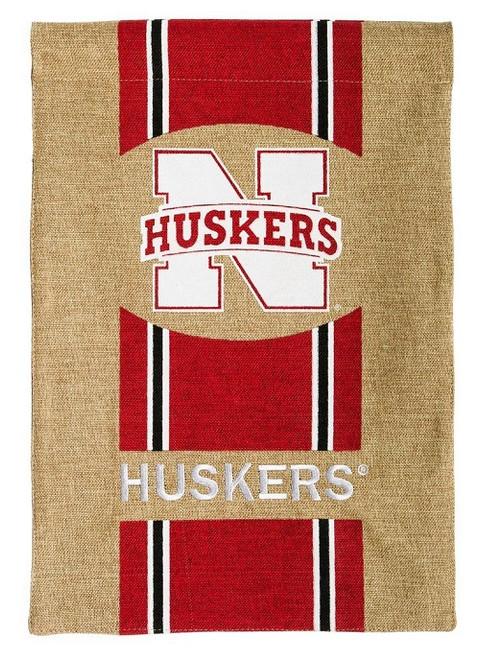 Nebraska Cornhuskers Garden Flag Burlap