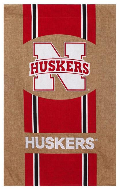 Nebraska Cornhuskers Burlap House Flag 29x43